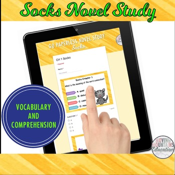 Socks Novel Study Digital Self-Checking for Google Classroom™ and Boom