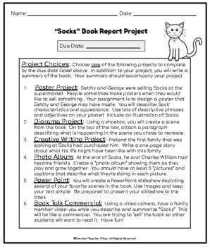 Socks by Beverly Cleary Book Report Project (Differentiated Choices)