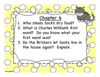 Socks Unit - Beverly Cleary - No Copies NEEDED Reading Instruction