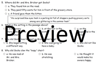 Socks by Beverly Cleary Chapters 1 and 2 Comprehension and Vocabulary Assessment