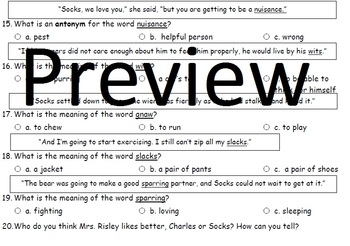 Socks by Beverly Cleary Chapters 3 and 4 Comprehension and Vocabulary Assessment