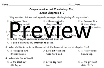 Socks by Beverly Cleary Chapters 5-7 Comprehension and Vocabulary Assessment