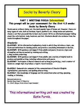 Socks by Beverly Cleary Informational Writing CCGPS Grade 2