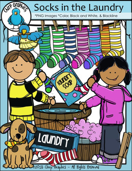 Socks in the Laundry Clip Art Set - Chirp Graphics