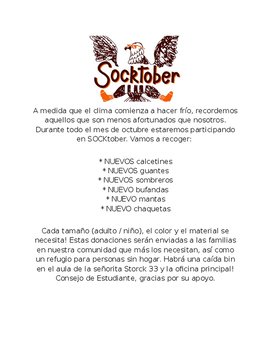 Socktober flyer in English and Spanish