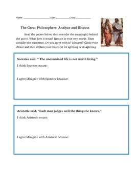 Socrates, Aristotle and Plato: Discuss Quotes by these Greek Philosophers