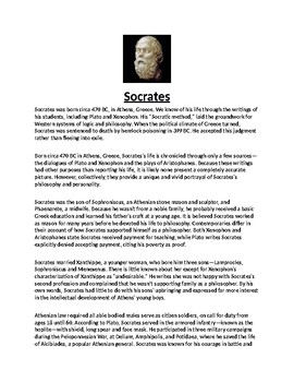 Socrates Article Biography and Assignment