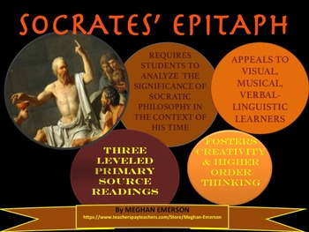 Socrates: Epitaph Assessment with Primary Source Handouts, Rubric, Template