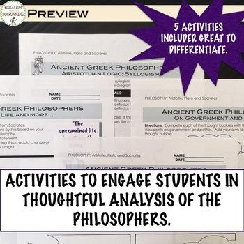Socrates Plato Aristotle Philosophers of Ancient Greece 5 Activities and Text