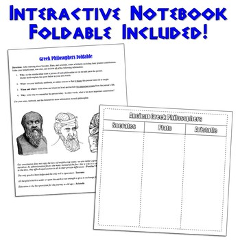 Socrates, Plato, & Aristotle PowerPoint with Magic Portraits and Foldable