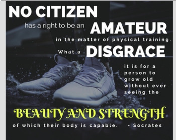 Socrates Quote Fitness Poster - Gr. 6-12 Physical Education, Health Education