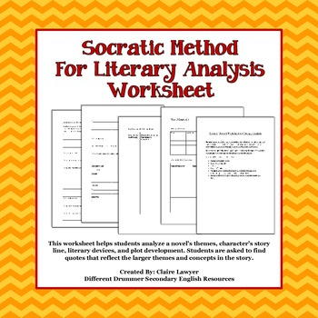 socratic method for literary analysis worksheet tpt. Black Bedroom Furniture Sets. Home Design Ideas