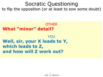 Socratic Questions: the art of the flip, or at least sowing a little doubt