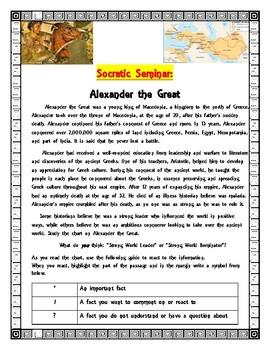 Socratic Seminar: Alexander the Great