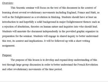 Socratic Seminar: Declaration of the Rights of Man (French Revolution)