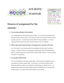 Socratic Seminar Differention/ Choices for all Learners during the seminar