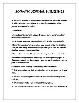 Socratic Seminar--Discussion Guidelines and Participant Rubric {For Commom Core}
