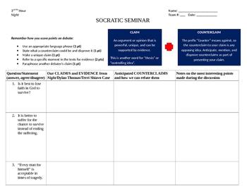 Socratic Seminar Graphic Organizer For Elie Weisel's Night