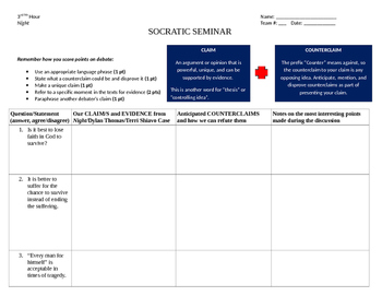 Socratic Seminar Graphic Organizer For Elie Weisel's Night