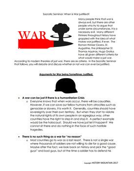 Socratic Seminar - Is War Ever Justified?