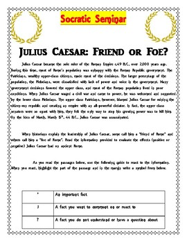 Socratic Seminar- Julius Caesar: Friend or Foe?