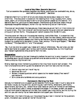 Socratic Seminar Lesson Plan- Lord of the Flies