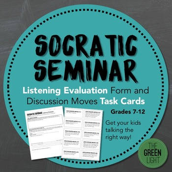 Socratic Seminar Listening Evaluation and Discussion Moves Task Cards