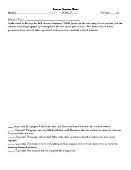 Socratic Seminar Notes/Discussion Notes