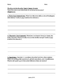 """Socratic Seminar Notes Sheet Companion to """"The Boys in the Boat"""""""