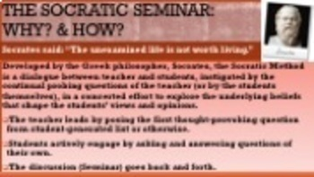 Socratic Seminar PPT, Lessons, Evaluation & Reflection Any Subject, Any Text