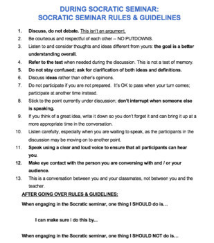 COMPLETE Socratic Seminar Packet: Speaking & Listening Activity