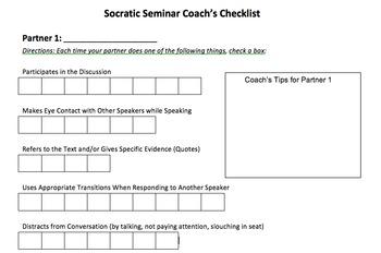 Socratic Seminar - Perfect Peer Evaluation Rubric/Handout