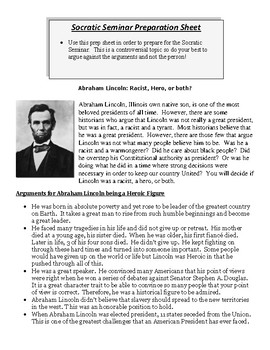 Socratic Seminar Prep Sheet - Was Abraham Lincoln a Hero, a Racist, or Both?