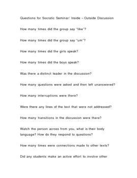 Socratic Seminar Questions / Inside Outside Circle Questions