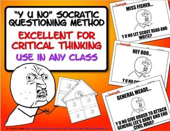 """Socratic Seminar Questions """"Y U No"""" Meme Activity Bell Ringer, Exit Slip"""