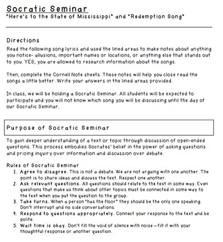 """Socratic Seminar: """"Redemption Song"""" & """"Here's to the State of Mississippi"""""""
