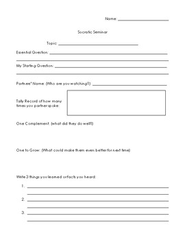 Socratic Seminar Reflection Sheet