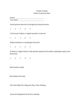 Socratic Seminar Reflection and Scoring Guide