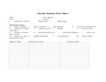 Socratic Seminar Score Sheet