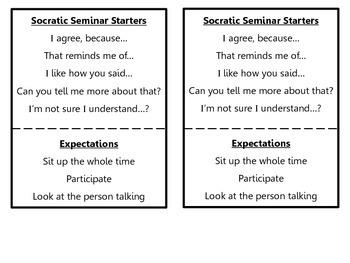 Socratic Seminar Sentence Starters