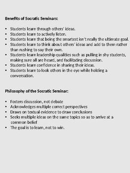 Socratic Seminar Set-Up and Management