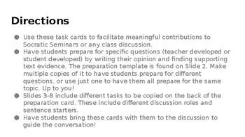Socratic Seminar Task Cards