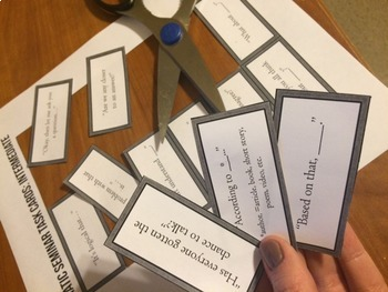 Socratic Seminar Task Cards: Discussion Sentence Starters!