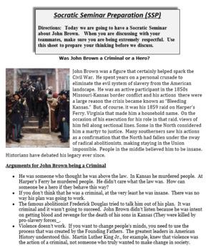 Socratic Seminar - Was John Brown a Hero or a Terrorist?