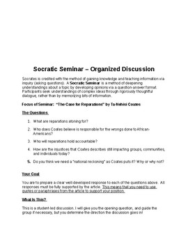 Socratic Seminar on Reparations -- Full Lesson & Assessment