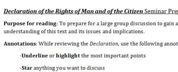 Socratic Seminar prep worksheet: Declaration rights of man French revolution