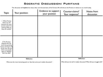 Socratic seminar - Puritans