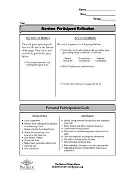 Socratic seminar tools for beginners - Participant Reflection