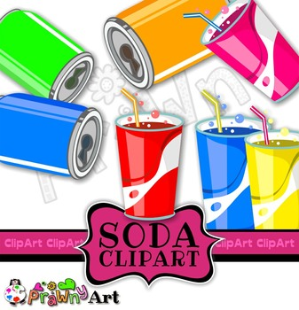 Soda Drinks Clip Art Set - Various Flavours - Party Elements