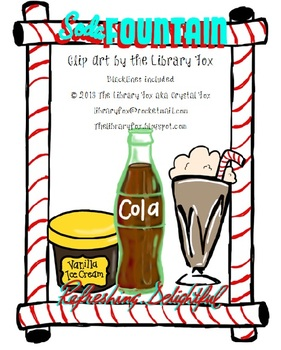 soda fountain clip art with blacklines by the libraryfox tpt rh teacherspayteachers com clipart soda can clipart soda pop